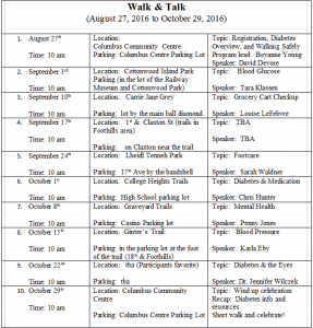 Walk and Talk Schedule